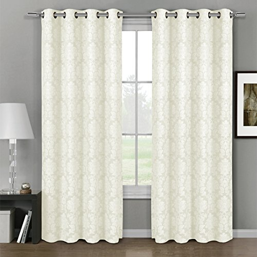 Deluxe Energy Efficient Room Darkening Pair Of Two Top Floral Grommet Jacquard Curtain Panel