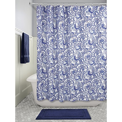InterDesign Mosaic Vine Fabric Shower Curtain 72 X 72 Blue Navy Rings