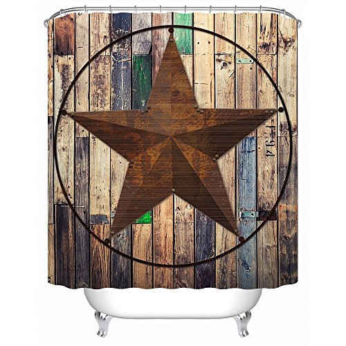 Uphome Rustic Vintage Star On Wooden Bathroom Shower