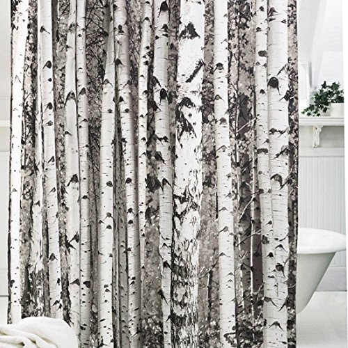 Oneoney birch tree shower curtain for bathroom decor private
