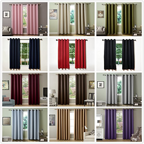 Chadmade Solid Thermal Insulated Blackout Curtains Drapes