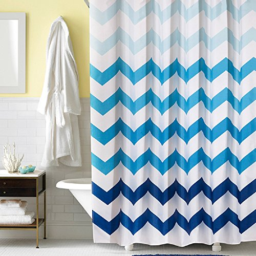 Navy and white shower curtain