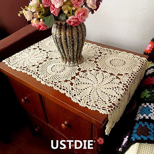 Ustide 100 cotton crochet lace rectangular table runner for 11 inch table