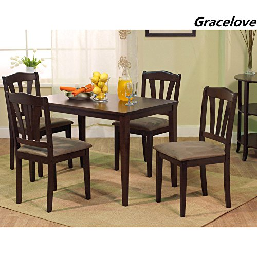 5pc Espresso Dining Room Kitchen Set Table 4 Brown: Gracelove 5pc Espresso Dining Room Kitchen Set Table 4