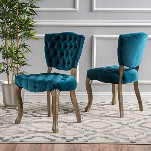 Elizabeth Tufted Dark Teal New Velvet Fabric Dining Chairs