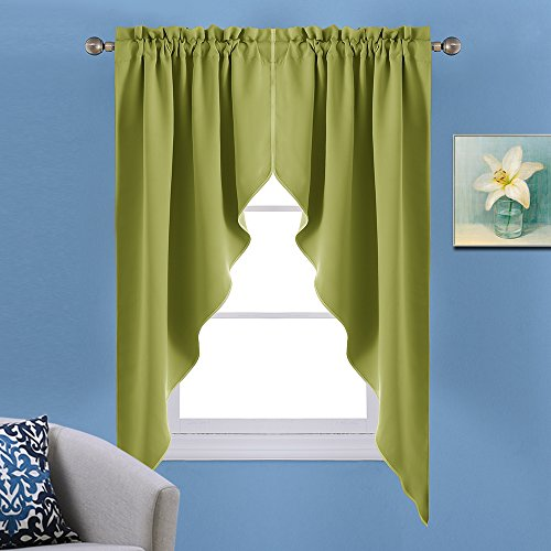 nicetown blackout rod pocket kitchen tier curtains tailored scalloped valance swags for. Black Bedroom Furniture Sets. Home Design Ideas