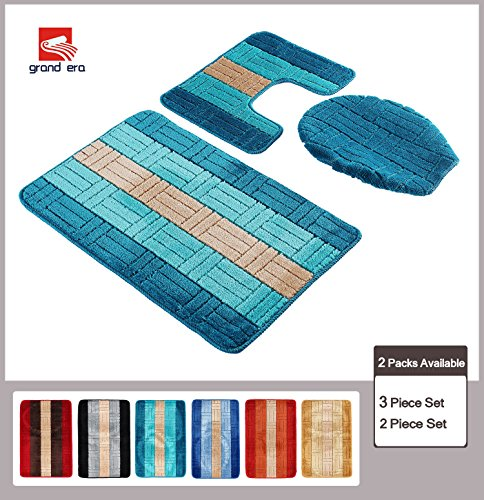 grand era 3 piece bathroom rug fiber mat set a