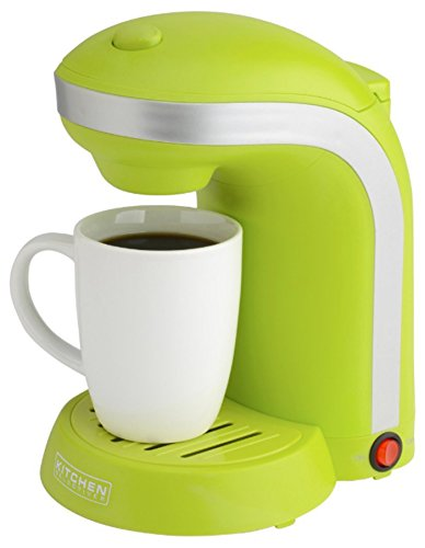 Kitchen Selectives Single Serve Coffee Maker with 12-oz. Mug Green Rings-N-Rollers