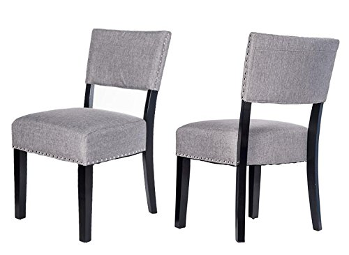 Merax Thick Padded Fabric Dining Chairs With Nailhead Detail Set Of 2 Grey