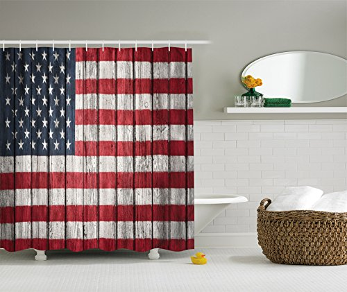 Usa flag decor shower curtain set by ambesonne fourth of for Red white and blue bathroom accessories