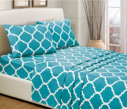 3 piece twin size turquoise blue quatrefoil print bed for High thread count sheets