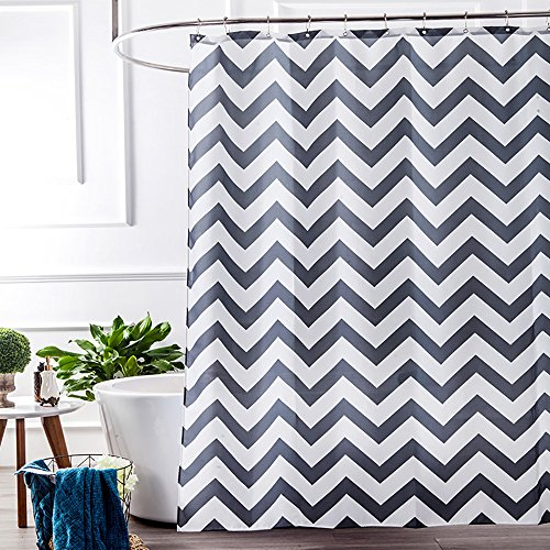 Grey And White Fabric Shower Curtain Liner With 12 Hooks