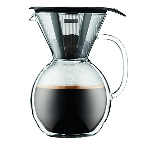 Bodum 11672-01 8 Cup Double Wall Pour Over Coffee Maker with Glass Handle, Black Rings-N-Rollers