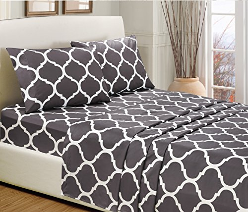 4 pc california cal king dark grey quatrefoil print bed for High thread count bed sheets