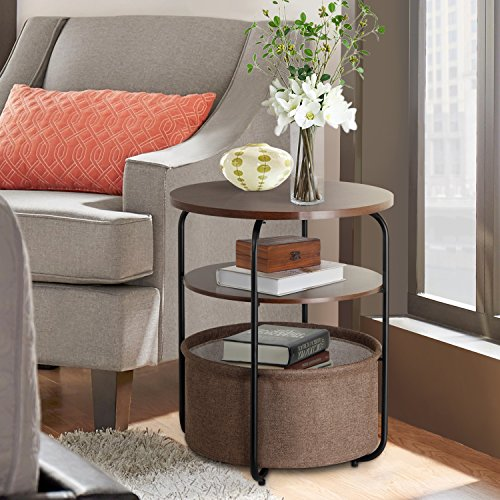 Lifewit 3 tier Round Side End Table with Storage Basket