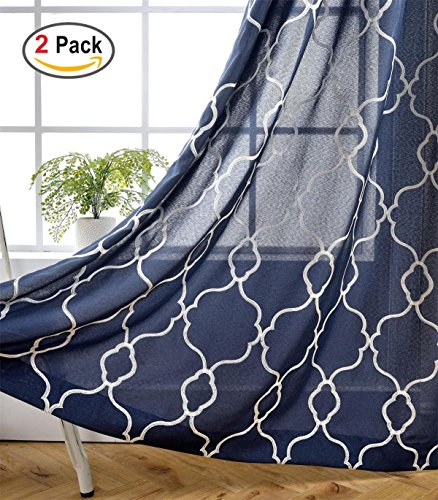 Miuco Moroccan Embroidered Semi Sheer Curtains Faux Linen