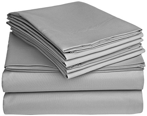 solid grey 300 thread count twin extra long size sheet set 100 cotton 3pc bed sheet set deep. Black Bedroom Furniture Sets. Home Design Ideas