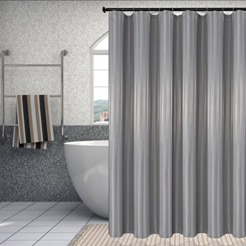 Damask Stripes Waterproof Fabric Shower Curtain Or Liner Antibacterial Water Resistant Bathroom Set Mold And Mildew Silver Grey