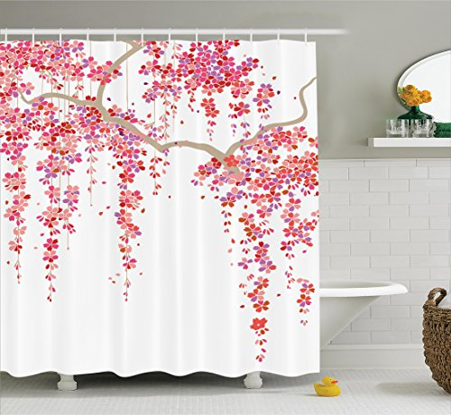 Ambesonne House Decor Collection, Cherry Blossom Trees Branch Springtime  Happy Vacation Traveling Destinations Image, Polyester Fabric Bathroom  Shower ...