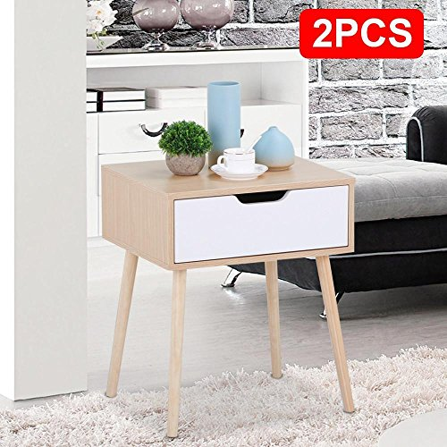 Light Walnut Wood Caleb Accent Table: Topeakmart Light Walnut/White Side End Table Nighstand