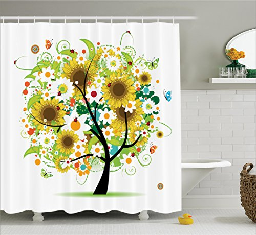 Ambesonne Sunflower Decor Collection, Floral Tree With Daisies Sunflowers  Butterflies Ladybugs Swirl Spring Fantasy Image, Polyester Fabric Bathroom  Shower ...