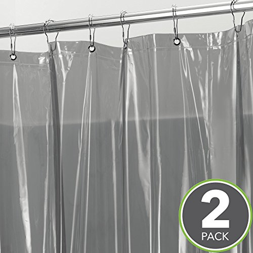 MDesign Extra Long Waterproof Mildew Resistant Heavy Duty Shower Curtain Liner With 3 Magnets For Bathroom And Bathtub 72 X 84